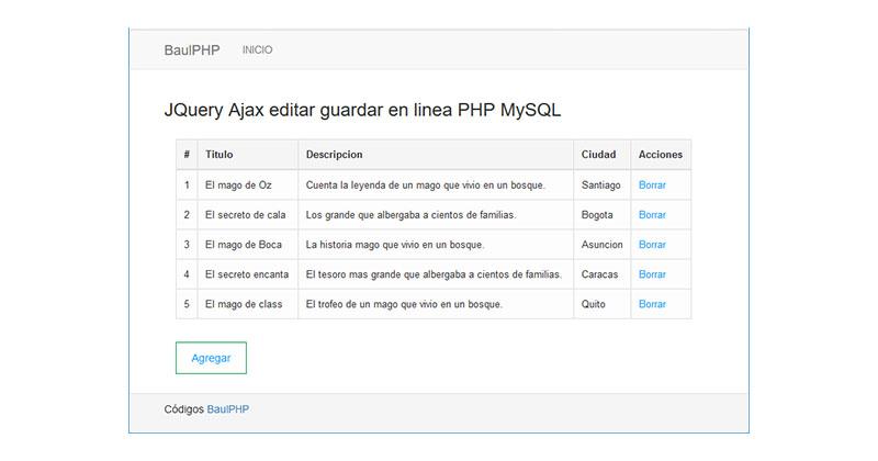 Descargar JQuery Ajax CRUD en linea PHP MySQL