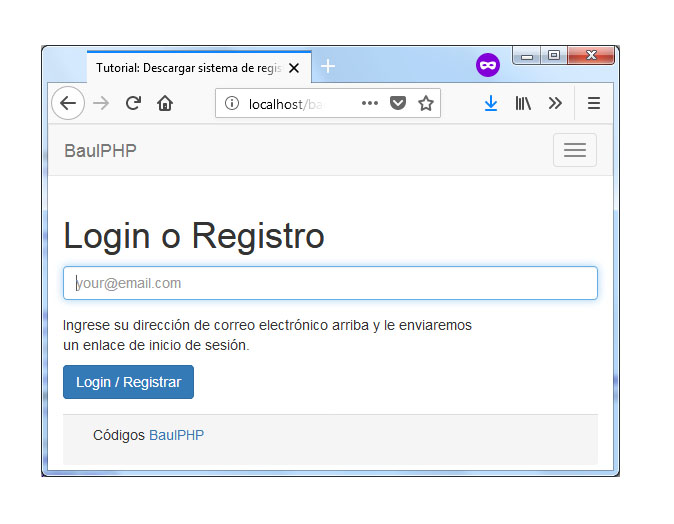 Descargar sistema de registro simple con PHP y MySQL