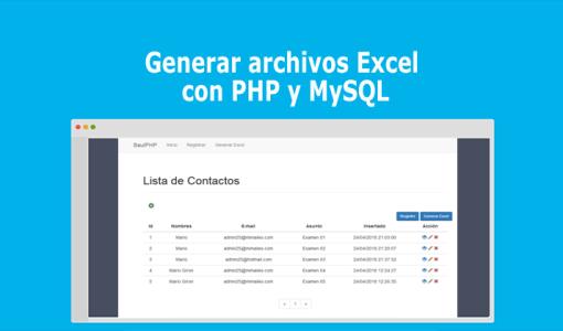 Generar archivos Excel con PHP y MySQL