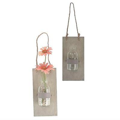 Holzbrett mit Vase grau gewaschen gnstig online bestellen