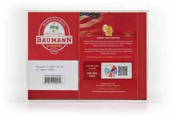 Wisconsin Ginseng Large Root Medium (6oz) Gift Box Back