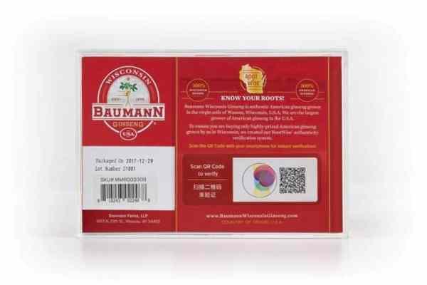 Wisconsin Ginseng Large Root Medium (3oz) Gift Box Back