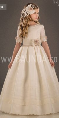 Baunda Silk communion dress Valeria 2018 model Duende
