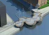 Geschlossene Schwingbrücke aus kreisrunden Elementen