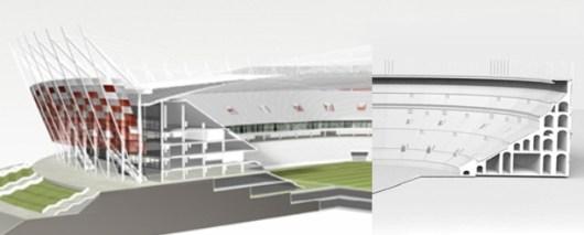 Schnitte von Nationalstadion in Warschau und dem Kolosseum in Rom