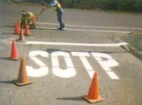 Straße Fahrbahn Markierung Stop Sotp