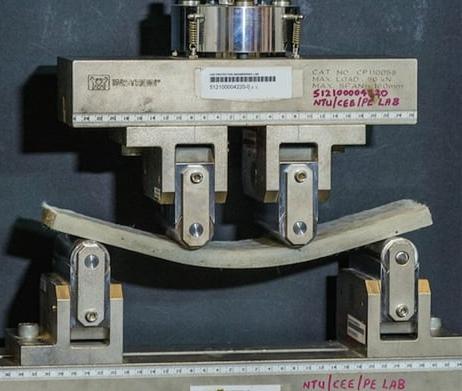 Betonplatte im Dreipunktlasttest gebogen