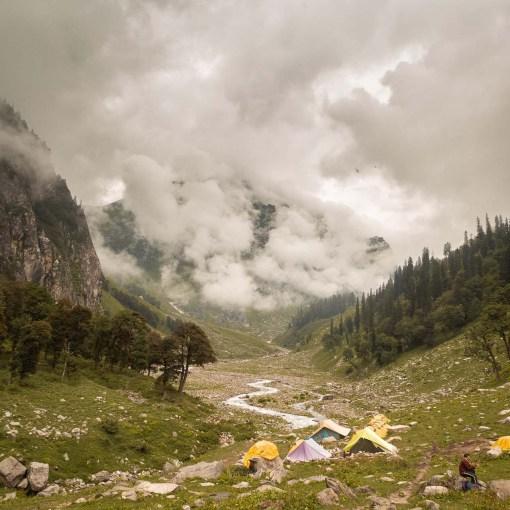 first base camp at Hampta Pass trek