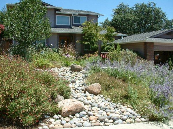 smooth river rock and garden