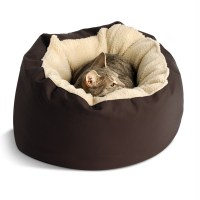 Donut Sherpa Cat Bed by Dog Gone Smart - Brown at BaxterBoo