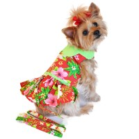 Red Hawaiian Hibiscus Designer Dog Harness Dress | BaxterBoo