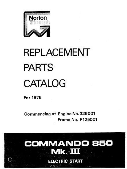 Norton 1975 Commando 850 MK3 Parts Book