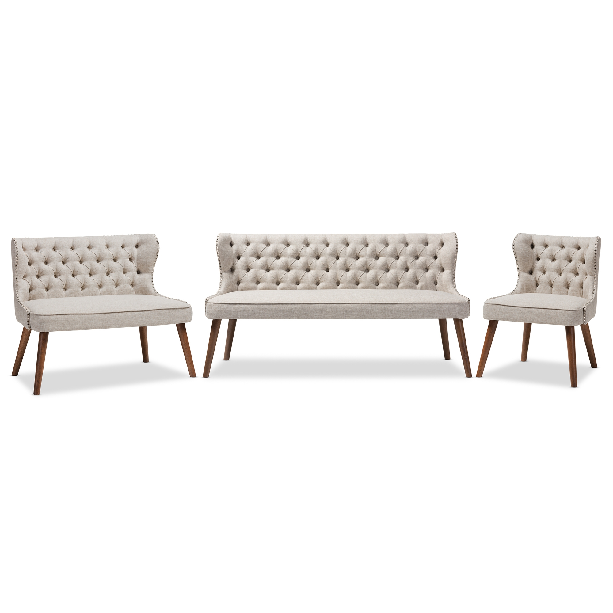 commercial sofas and chairs wedding ribbon baxton studio wholesale sofa set living room furniture scarlett mid century modern brown wood light beige fabric upholstered button tufting with nail heads trim livingroom 3 piece