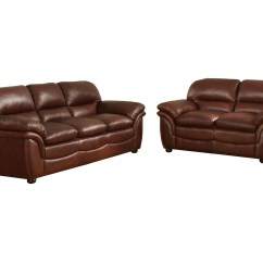 Leather Sofa Sets Modern Bed Faux Baxton Studio Redding Cognac Brown Set