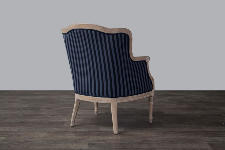 baxton studio modern leather accent chair rent throne chairs charlemagne traditional french chair-oak (blue stripe) | affordable ...