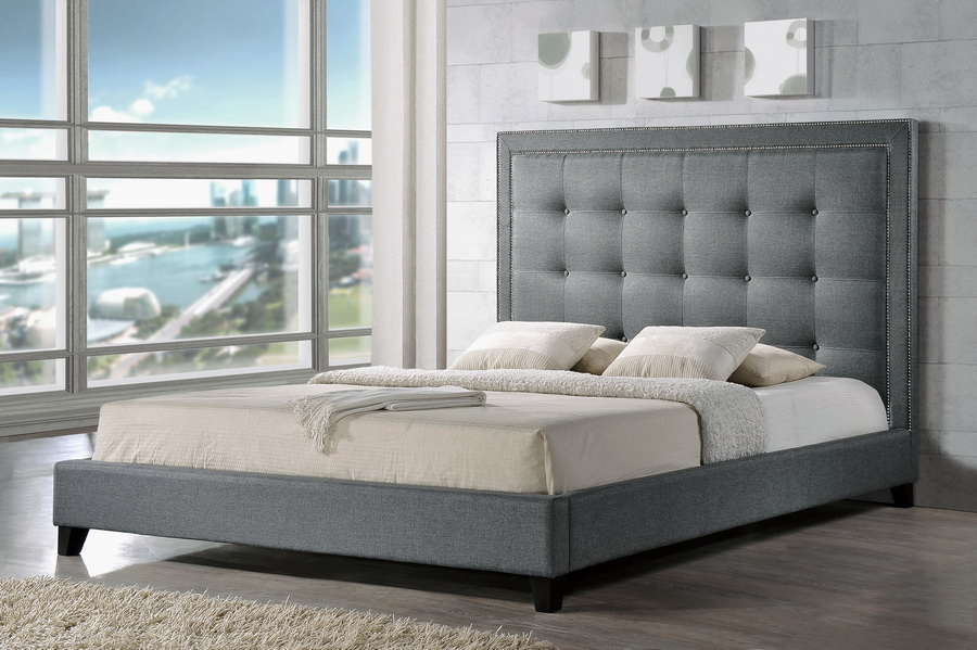 affordable upholstered dining chairs comfy desk chair baxton studio hirst gray platform bed- king size | modern furniture in chicago