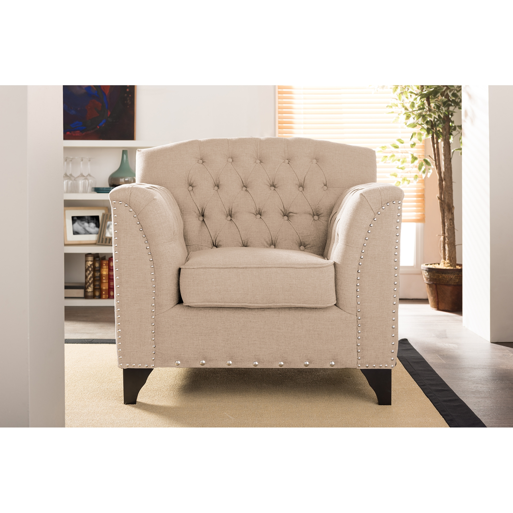french linen tufted sofa davenport ii pull up bed country style latest accent