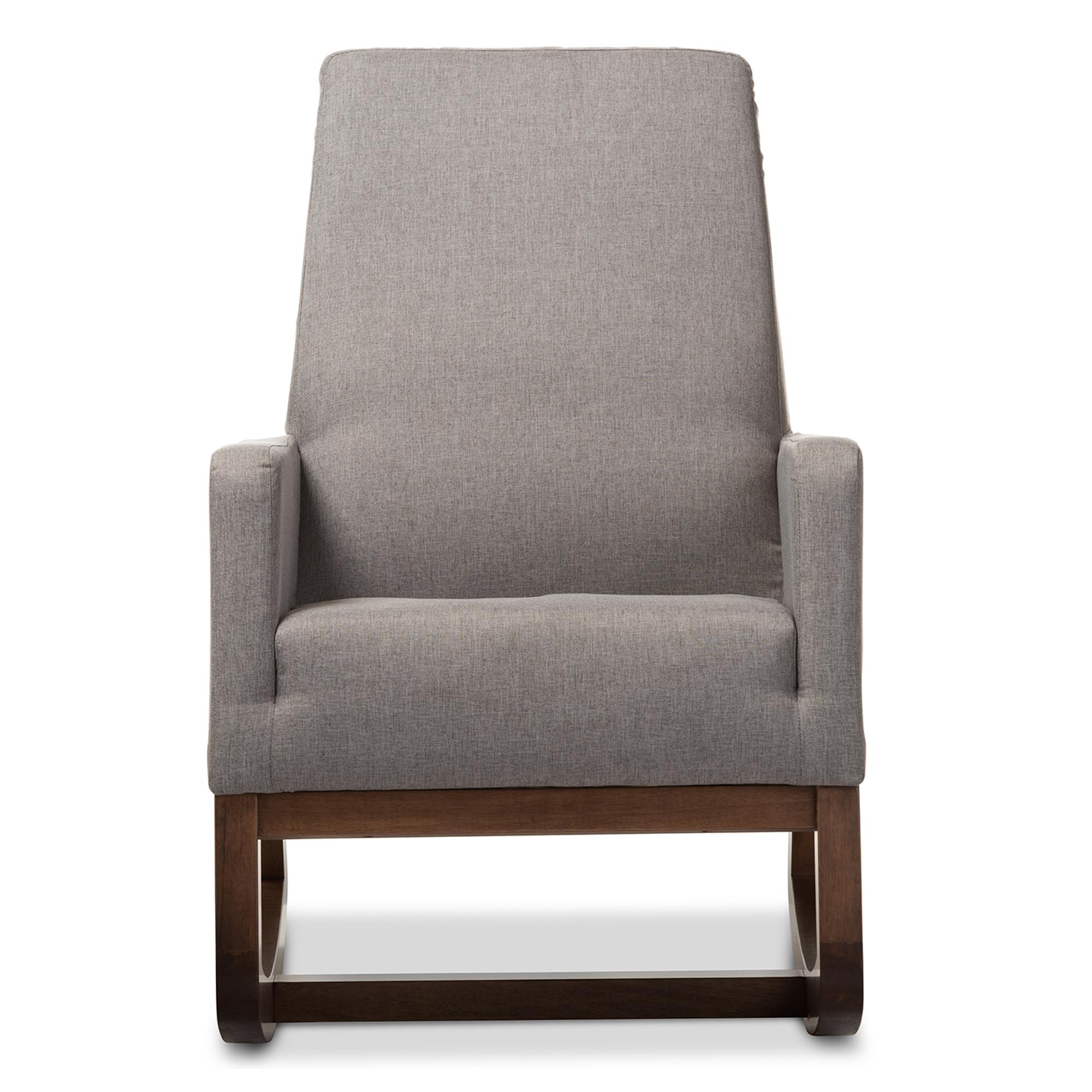 cheap modern rocking chair lazboy office baxton studio yashiya mid century retro grey fabric upholstered