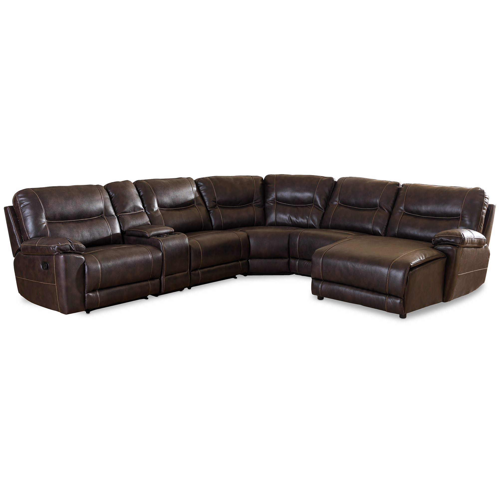 4087 modern bonded leather sectional sofa with recliners lazy boy mackenzie bed baxton studio mistral and contemporary dark brown