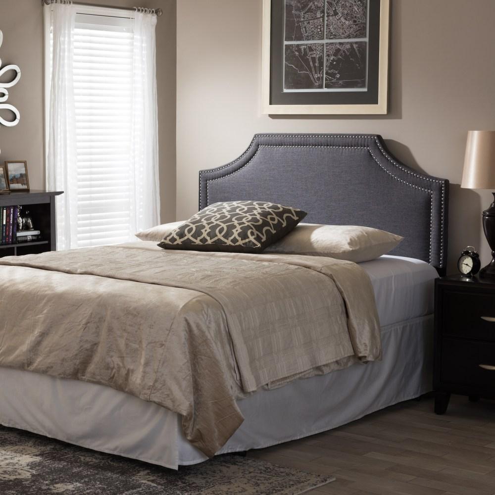 Baxton Studio Avignon Modern And Contemporary Dark Grey Fabric Upholstered King Size Headboard