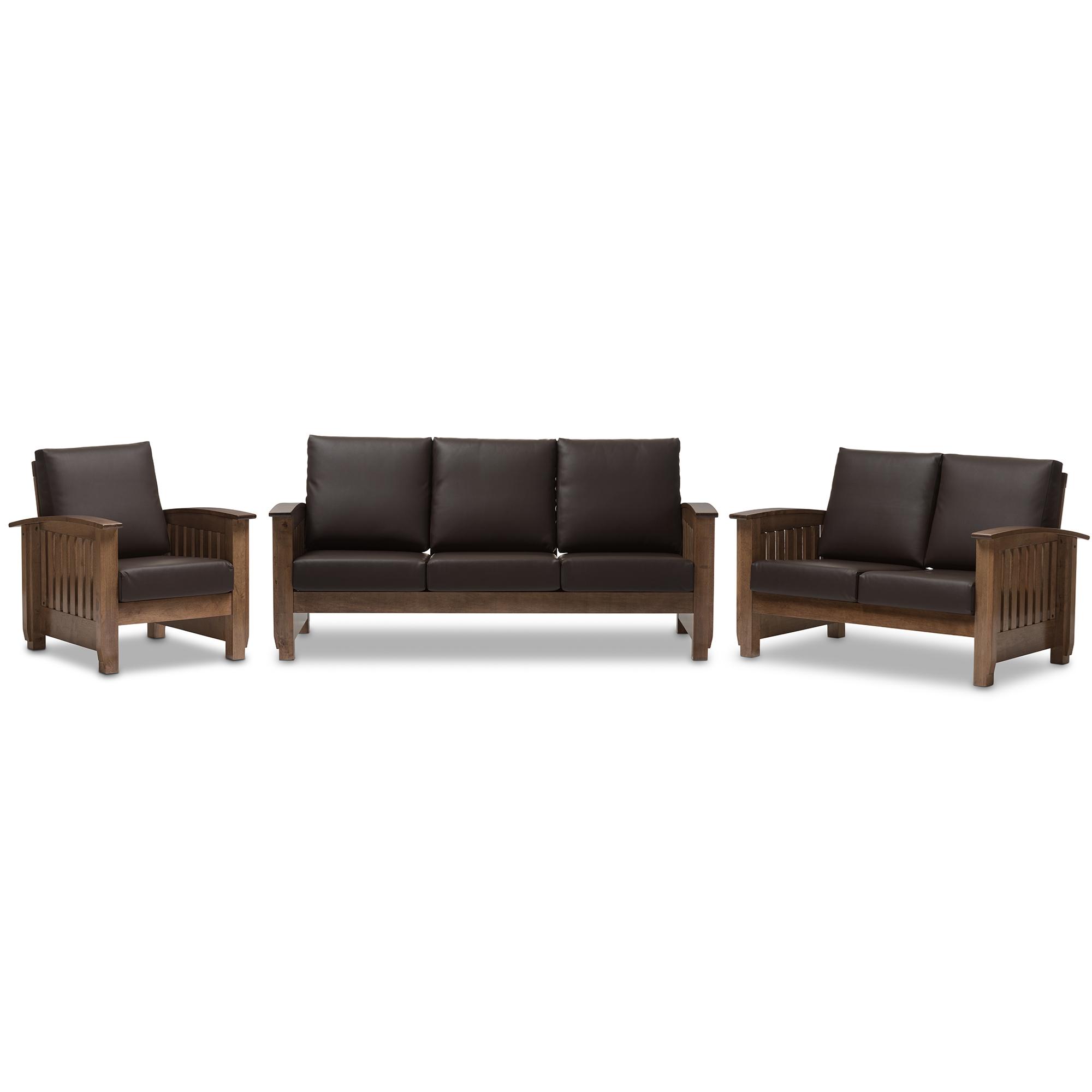 mission brown leather sofa small designer sofas baxton studio charlotte modern classic style
