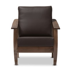 Baxton Studio Modern Leather Accent Chair Barber Philippines Pierce Mid Century Walnut Brown Wood