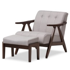 Living Room Chair And Ottoman Orange Office Chairs Sets Furniture Affordable Modern Baxton Studio Enya Mid Century Walnut Wood Grey Fabric Lounge Set
