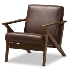 Baxton Studio Modern Leather Accent Chair Cane Bottom Rocking Bianca Mid Century Walnut Wood Dark