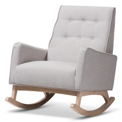 Rocking Chair Height Cream Wingback Baxton Studio Marlena Mid Century Modern Greyish Beige