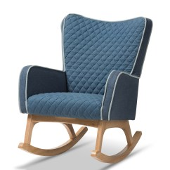 Affordable Rocking Chairs Office Depot Chair Sale Living Room Furniture Modern Baxton Studio Zoelle Mid Century Blue Fabric Upholstered Natural Finished