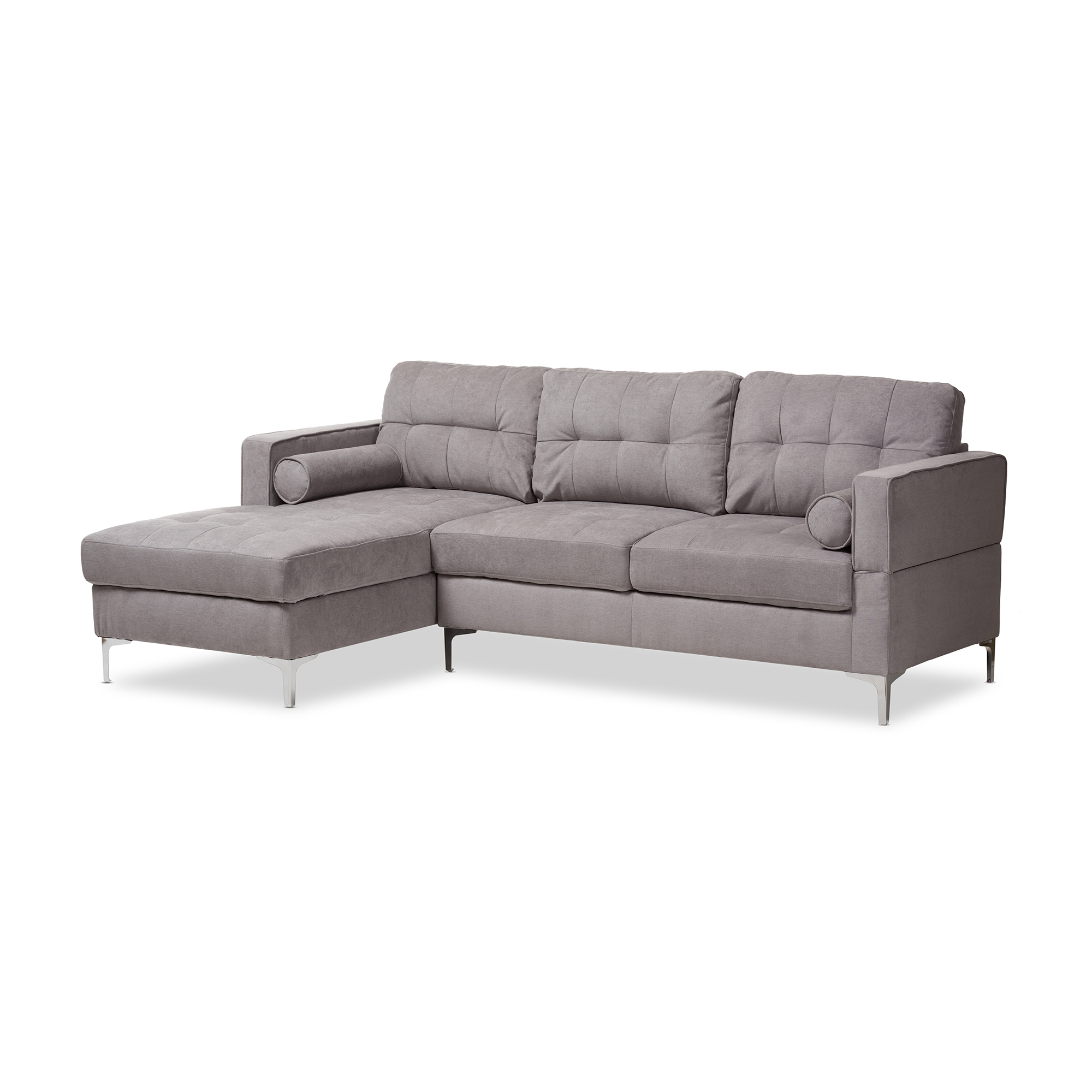 light gray fabric sectional sofa red tufted baxton studio mireille modern and contemporary grey