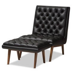 Modern Leather Chair And Ottoman Covers At Walmart Baxton Studio Annetha Mid Century Black Faux