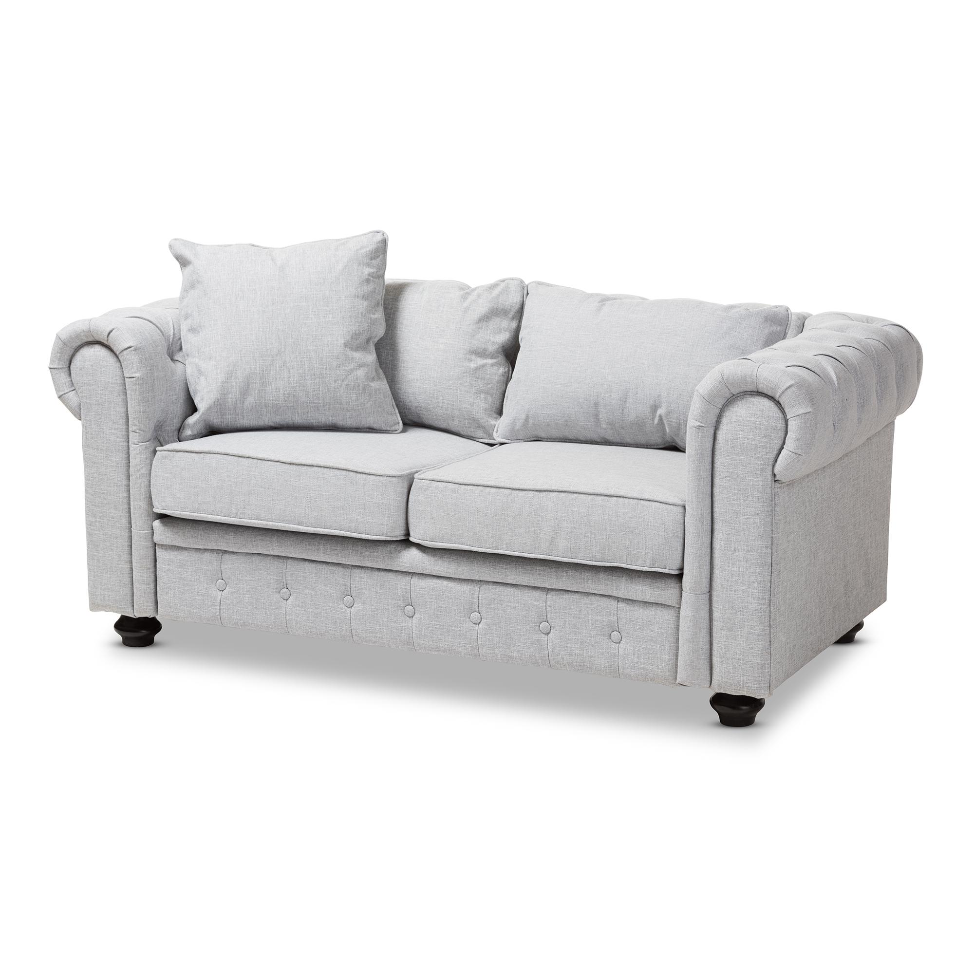 gray linen tufted sofa norwalk colton sectional baxton studio alaise modern classic grey