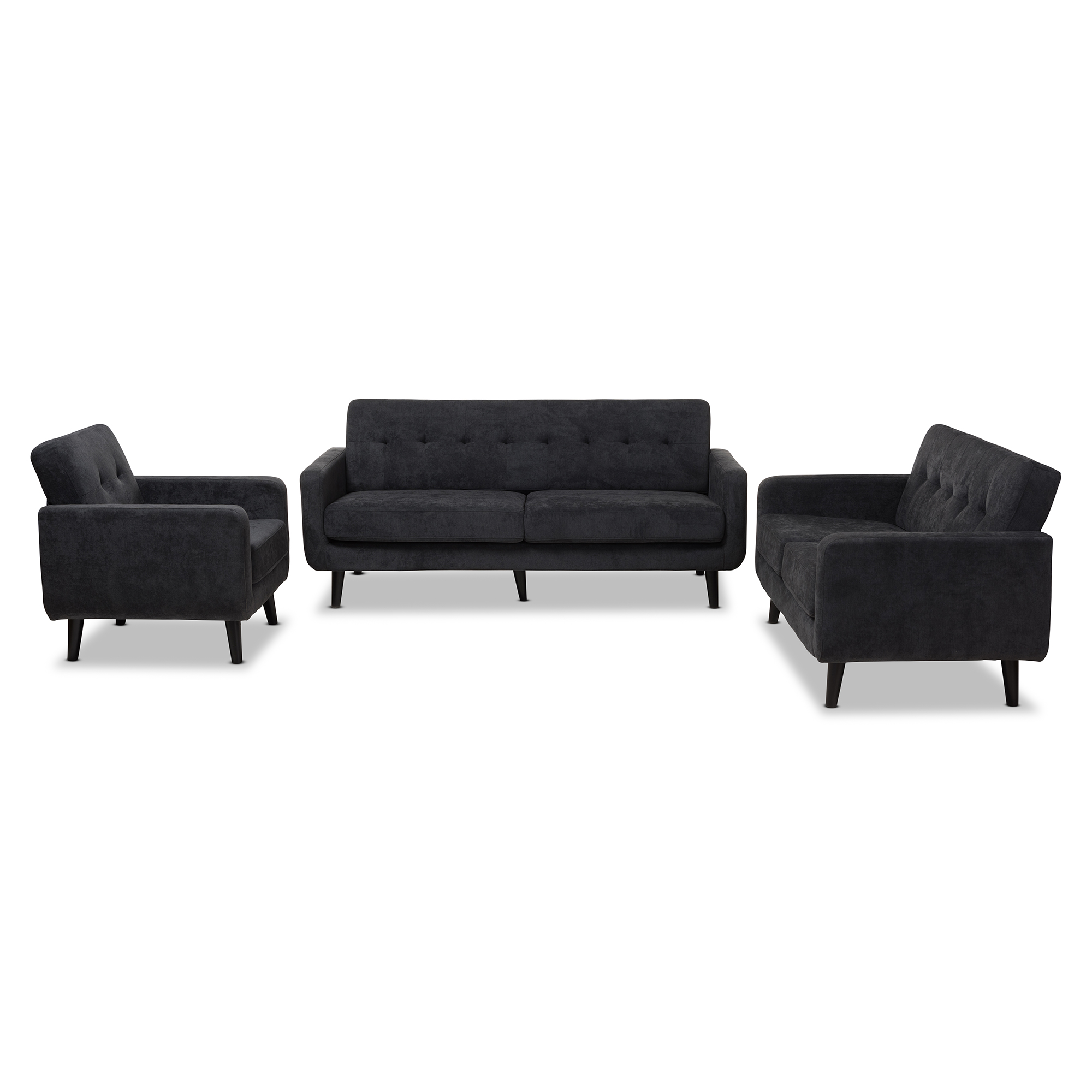 cheap 3 piece living room set modern italian furniture sofa sets affordable baxton studio carina mid century dark grey fabric upholstered