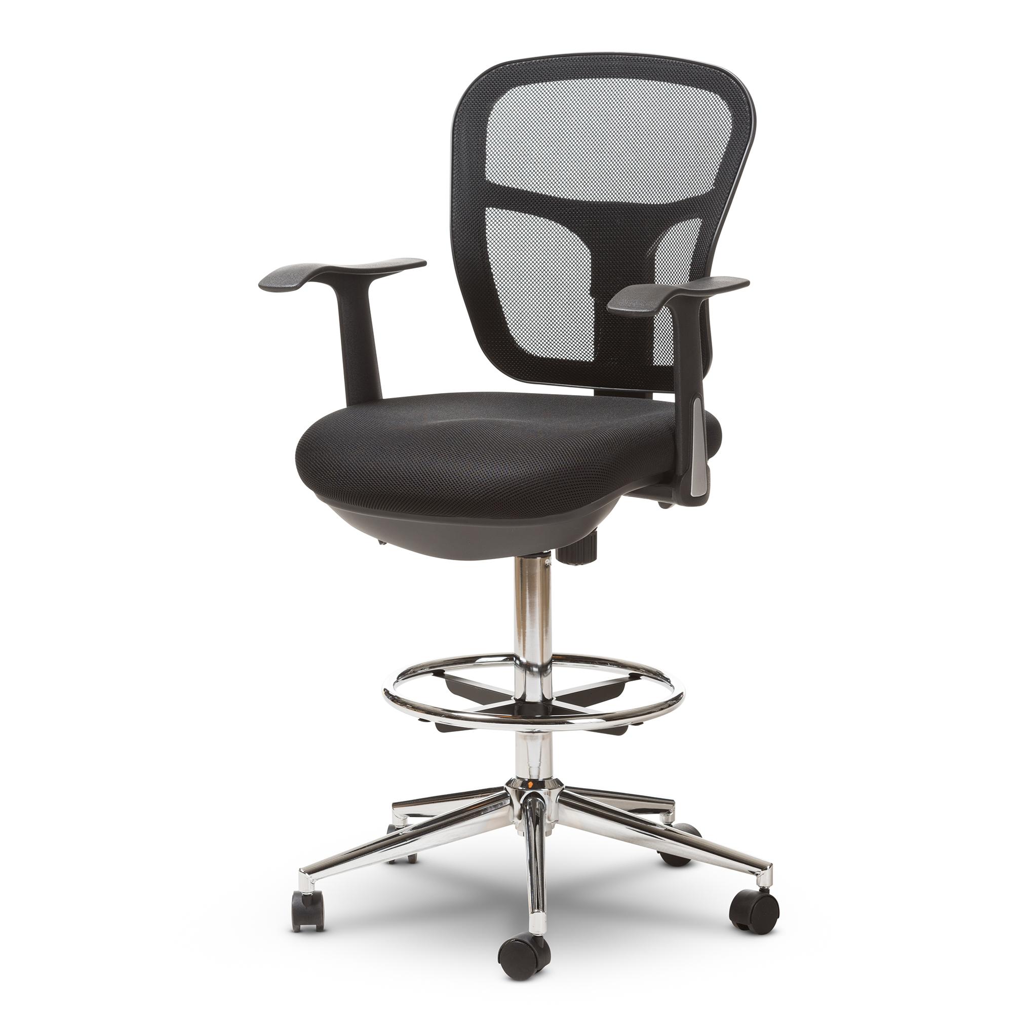 chair mesh stool bedroom swivel baxton studio landon modern and contemporary black adjustable height drafting