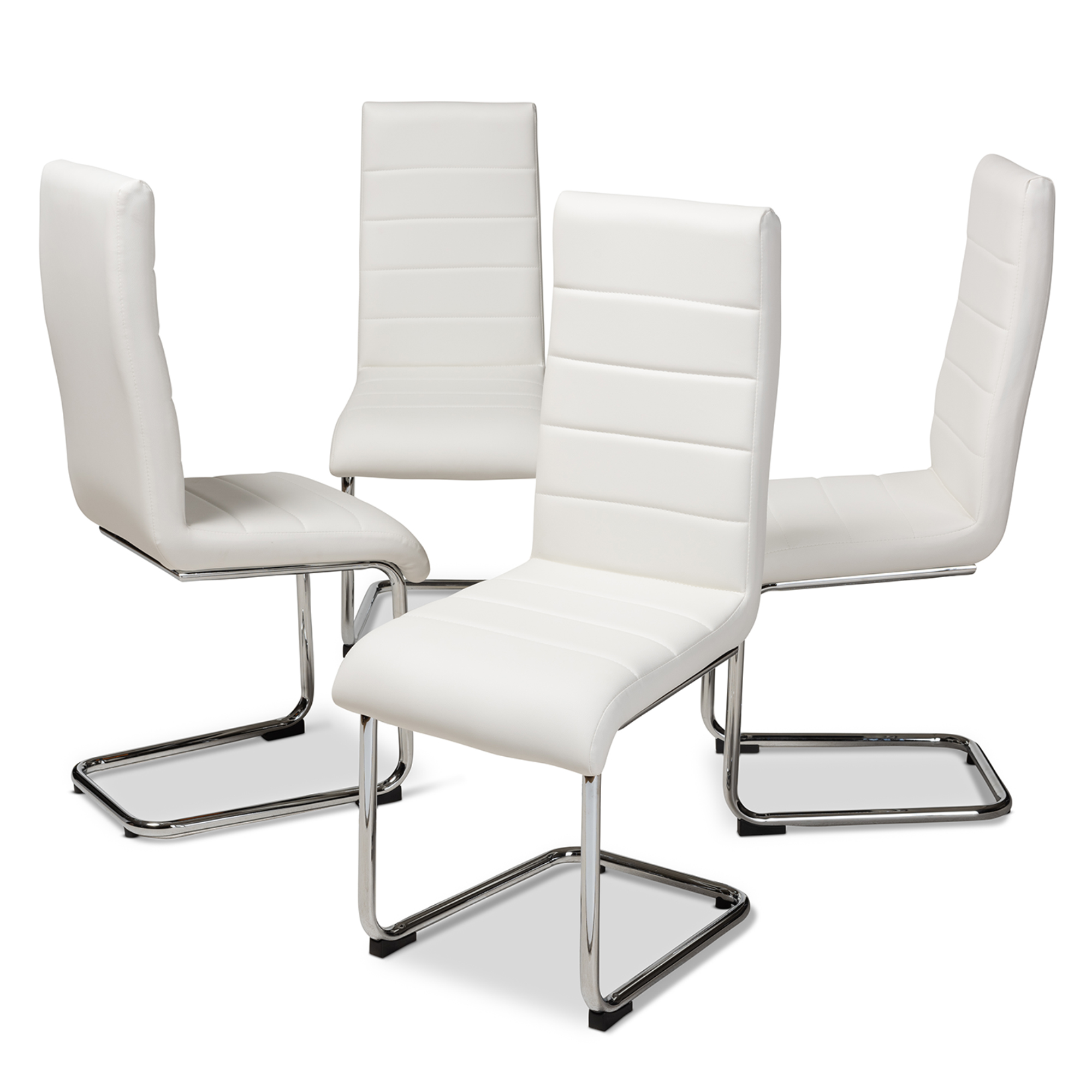 white upholstered chairs massage chair for sale baxton studio marlys modern and contemporary faux leather dining set of 4