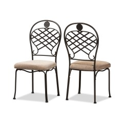 Rustic Metal Dining Chairs Rocking For Nursery Under 100 Baxton Studio Hera Industrial Beige Fabric Upholstered And Black Finished Chair Set Of 2