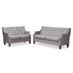 2 Piece Living Room Furniture Best Colour For India Sofa Sets Affordable Modern Baxton Studio Celine And Contemporary Grey Fabric Upholstered Button Tufted