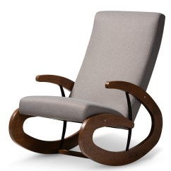 Affordable Rocking Chairs Leather Accent Living Room Furniture Modern Baxton Studio Kaira And Contemporary Gray Fabric Upholstered Walnut Finished Wood Chair