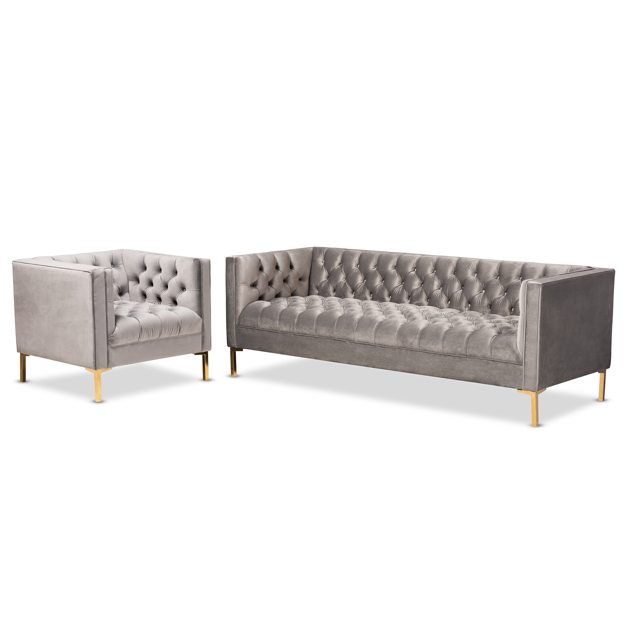 affordable modern living room sets decorating ideas cream couch sofa furniture baxton studio zanetta glam and luxe gray velvet upholstered gold finished 2 piece