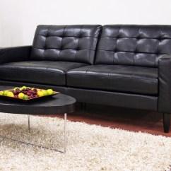 Baxton Studio Dobson Leather Modern Sectional Sofa Corner Coffee Table Ideas Black Arriga ...