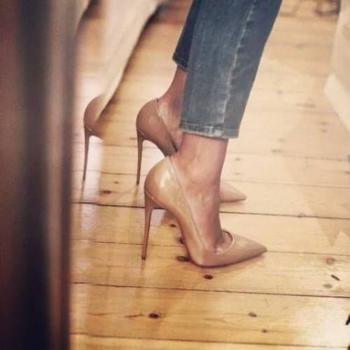 Nude Rengi Topuklu Şık Ayakkabı Modelleri