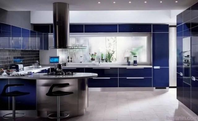 Mavi Renk Mutfak Dolabı Modelleri