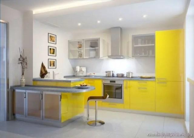 Sarı Renk Mutfak Dolabı Modelleri