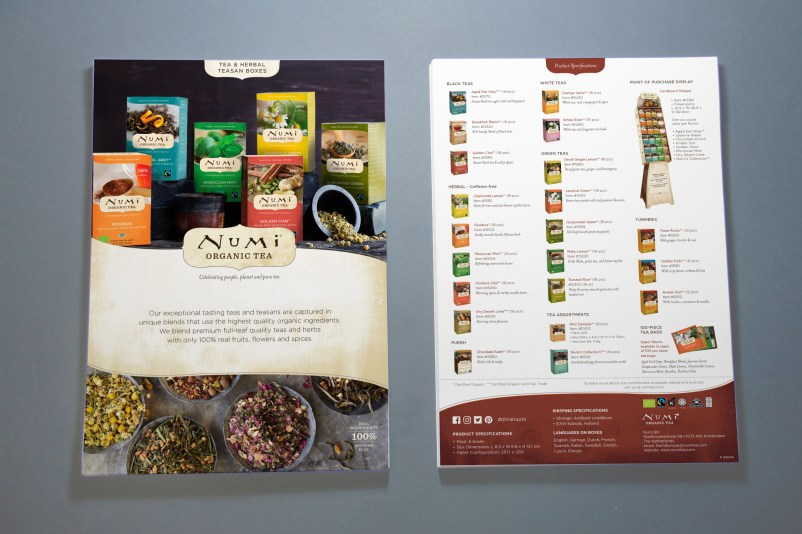 Numi Organic Tea A4 Product Sheets Mockup