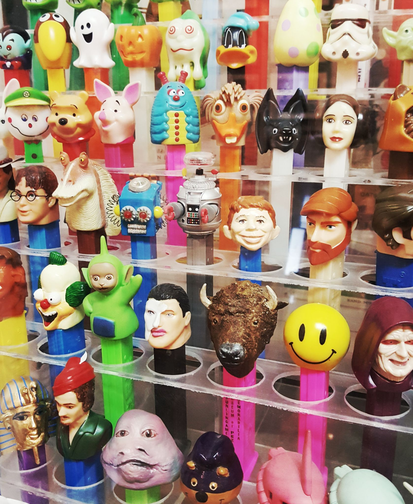 Assorted vintage Pez dispensers at the Pez Museum