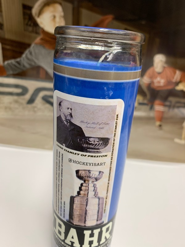 Reverse side of Blues playoff candle