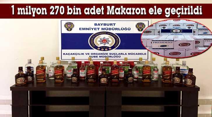 Bayburt'ta Kaçak İçki ve Makaron Ele Geçirildi