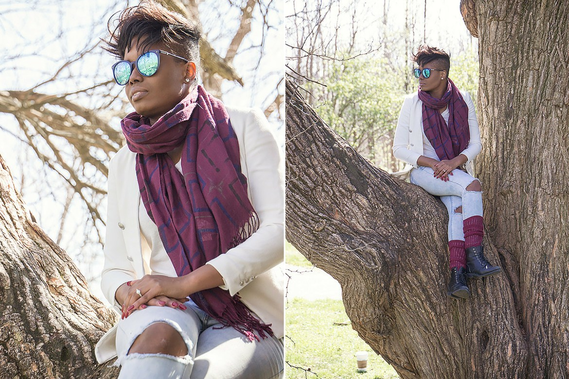 Ripped-jeans-white-blazer-and-maroon-leg-warmers