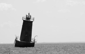 The leaning tower of Sharps Island light, off the shores of Tilghman Island